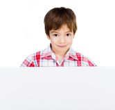 Kid with white banner Stock Images
