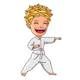 Kid in a white suit is engaged in karate vector illustration