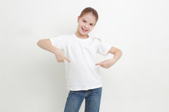Kid and white T-shirt Royalty Free Stock Photos