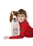 Kid wiht puppy Stock Image