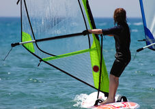 Kid windsurfer Stock Photos