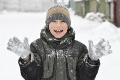 Kid in winter clothes Stock Image