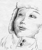 Kid in winter clothes. Hand drawn pencil sketch of a child - girl or boy - wearing warm clothes and looking up Royalty Free Stock Photos