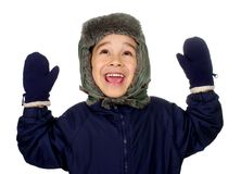 Kid in winter clothes smiling hands raised. Kid in winter clothes looking up happy, smiling, with hands raised, seven years old, isolated on pure white Stock Photos