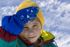The kid on winter walk Royalty Free Stock Photo