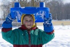 The kid on winter walk Stock Photo