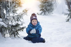 The kid in the winter on walk Stock Photography