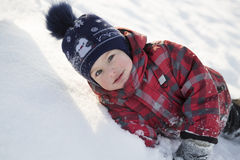 The kid on winter walk Royalty Free Stock Photography
