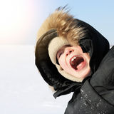 Kid in Winter Stock Photo