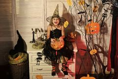 Kid in witch hat and costume holds big pumpkin. royalty free stock photography