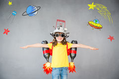 Free Kid With Jet Pack Playing At Home Royalty Free Stock Photography - 97552397