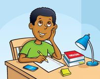 Kid Working On A Homework Assignment. Cartoon illustration of a boy working on a homework assignment while sitting at a desk with a lamp, pencil, paper, books Stock Photos