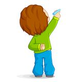 Kid writing. Vector illustration of kid writing with marker Stock Photography