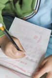 Kid writing number Royalty Free Stock Photo