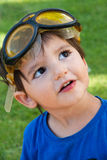 Kid with yellow goggles Royalty Free Stock Photography