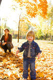 Kid in yellow leaves Royalty Free Stock Photography