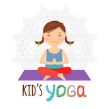 Kid yoga logo. Girl sitting in lotus pose. Vector illustration Royalty Free Stock Photography