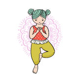 Kid yoga logo. Gymnastics for children. Healthy lifestyle poster. Royalty Free Stock Image