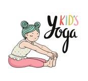 Kid yoga logo. Gymnastics for children. Healthy lifestyle poster. Stock Images