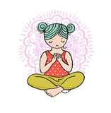 Kid yoga logo. Gymnastics for children. Healthy lifestyle poster. Vector illustration Stock Photography