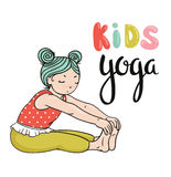 Kid yoga logo. Gymnastics for children. Healthy lifestyle poster. Royalty Free Stock Images
