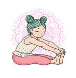 Kid yoga logo. Gymnastics for children. Healthy lifestyle poster. Vector illustration Royalty Free Stock Photography
