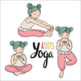 Kid yoga logo. Gymnastics for children. Healthy lifestyle poster. Vector illustration. Three girls in yoga poses. Sport and meditation elements Stock Photos