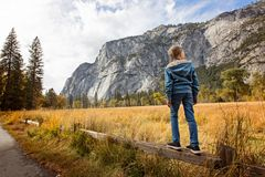 Kid in yosemite Stock Image