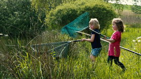 Kiddie Fishing Clip #10. Two little girls are catching together a big fish with a landing net stock footage