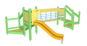 Kiddie Slide and Crawling Net, 3D illustration Royalty Free Stock Images