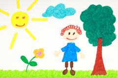 Kiddie style drawing of a flower, tree and child