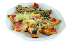Kiddies Star Pizza. With Sweets on Top Stock Photo