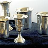 Kiddish cups square Stock Photos