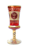 Kiddush Cup. A kiddush cup with a menorah on it, used in festive Jewish Holidays Royalty Free Stock Photo