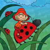 Kiddy and ladybirds Stock Photography