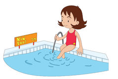 Kiddy pool. Illustration of a young girl entering the kiddy pool Stock Image