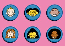 Kiddys. Sticker with faces of children Stock Photography