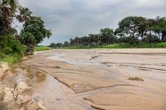Kidepo river in Uganda. Wide angle view of Kidepo river in Uganda stock images