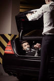 Kidnapped businessman. Royalty Free Stock Images