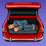 Kidnapped man in the car trunk pop art vector Stock Photos