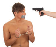 Kidnapped young man, hostage Royalty Free Stock Photo