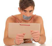 Kidnapped young man, hostage Stock Images