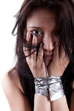 Kidnapped young woman Stock Photo