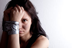 Kidnapped young woman Royalty Free Stock Photo