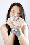 Kidnapped young woman royalty free stock photos