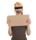 Kidnapped young woman, hostage Stock Photo