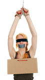 Kidnapped young woman, hostage Stock Image