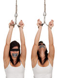 Kidnapped young woman, hostage Stock Photography