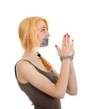 Kidnapped young woman, hostage Royalty Free Stock Image