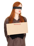 Kidnapped young woman, hostage Royalty Free Stock Images